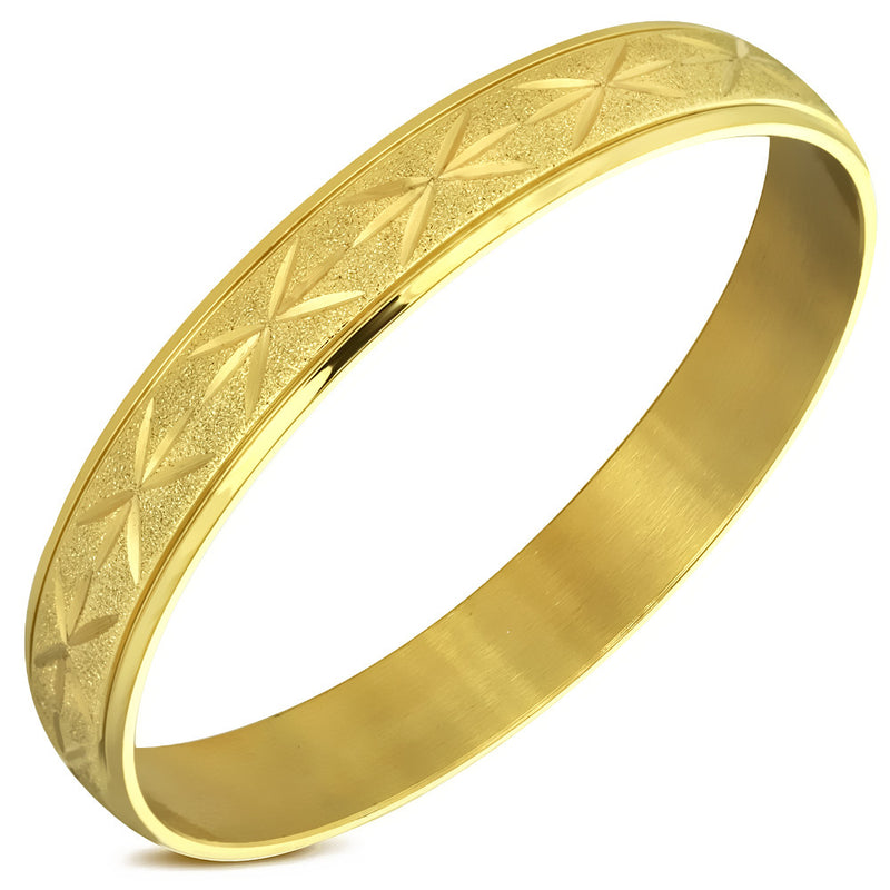Stainless Steel Yellow Gold-Tone Classic Round Bangle Bracelet