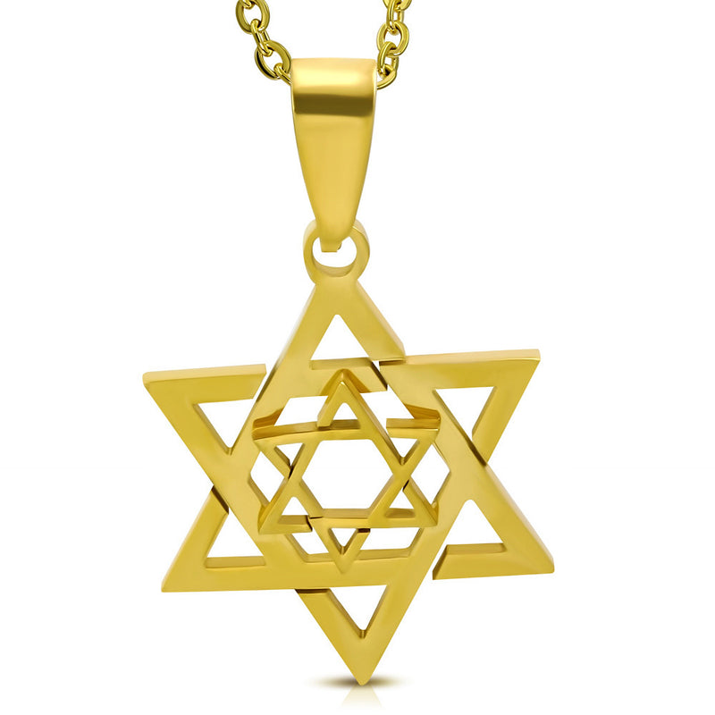 Stainless Steel Yellow Gold-Tone Jewish Star of David Mens Pendant Necklace