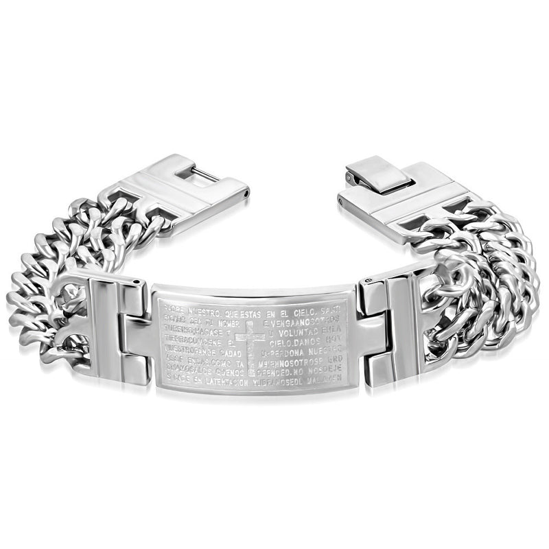 Stainless Steel Silver-Tone Double Chain Padre Nuestro Spanish Prayer Mens Bracelet