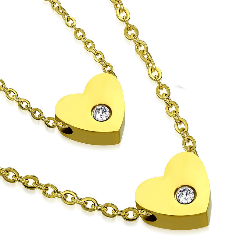 Stainless Steel Yellow Gold-Tone Double Chain White Clear CZ Love Heart Pendant Necklace