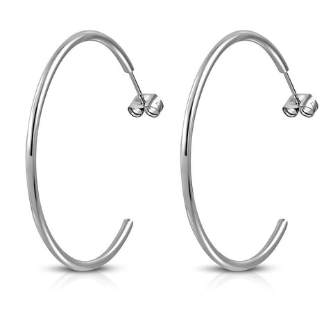 Stainless Steel Half-Hoop Silver-Tone Earrings, 1.35""