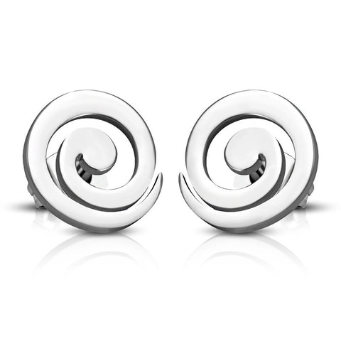 Stainless Steel Silver-Tone Swirl Stud Earrings, 0.50""