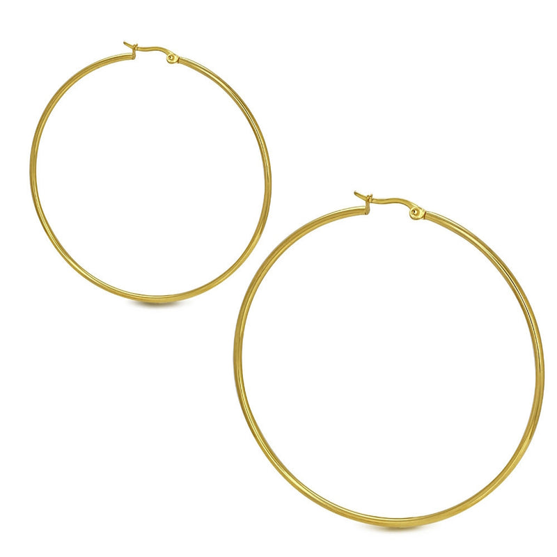 Stainless Steel Yellow Gold-Tone Hoop Earrings, 2.50""