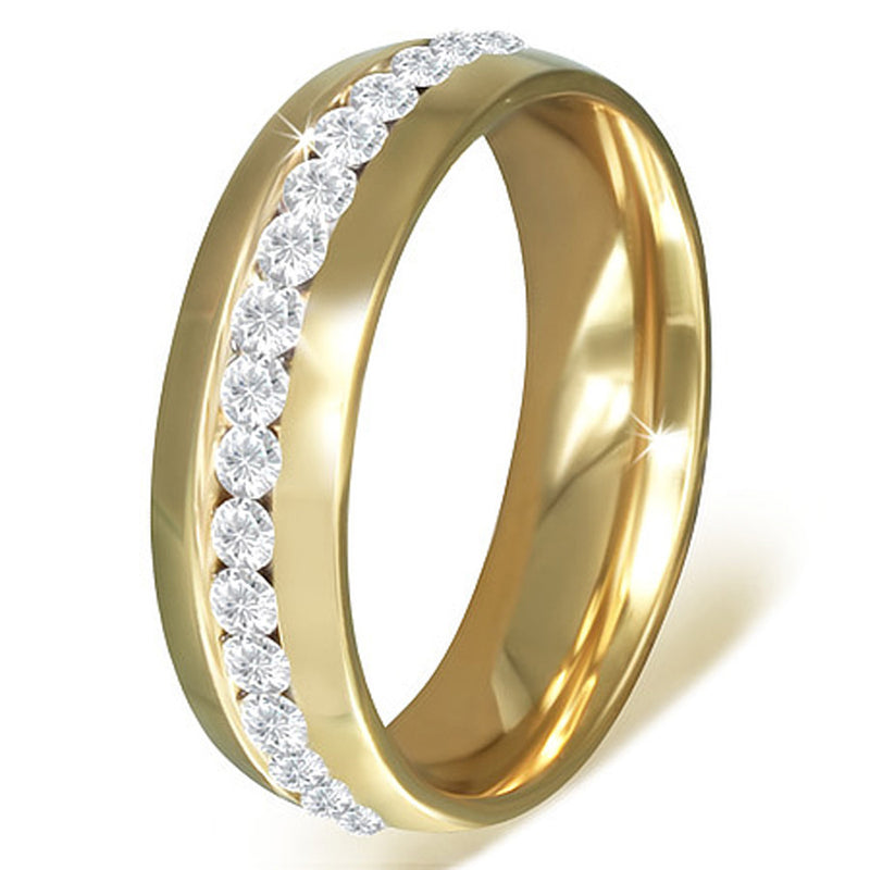 Stainless Steel Yellow Gold-Tone White Clear CZ Anniversary Wedding Ring Band