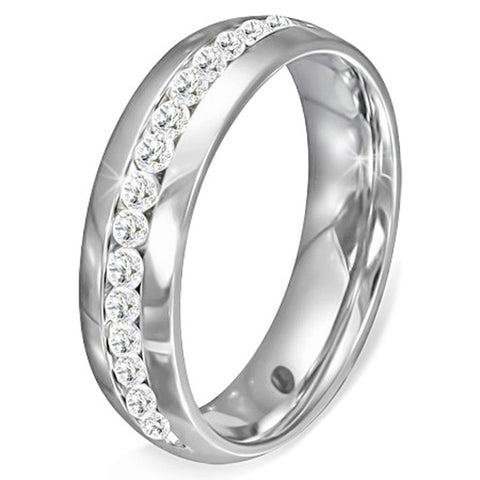 Stainless Steel Silver-Tone White Clear CZ Anniversary Wedding Ring Band