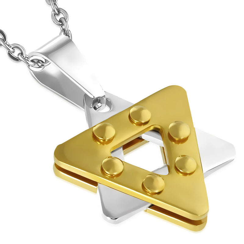 Stainless Steel Silver-Tone Yellow Gold-Tone Statement Jewish Star of David Pendant Necklace, 24""