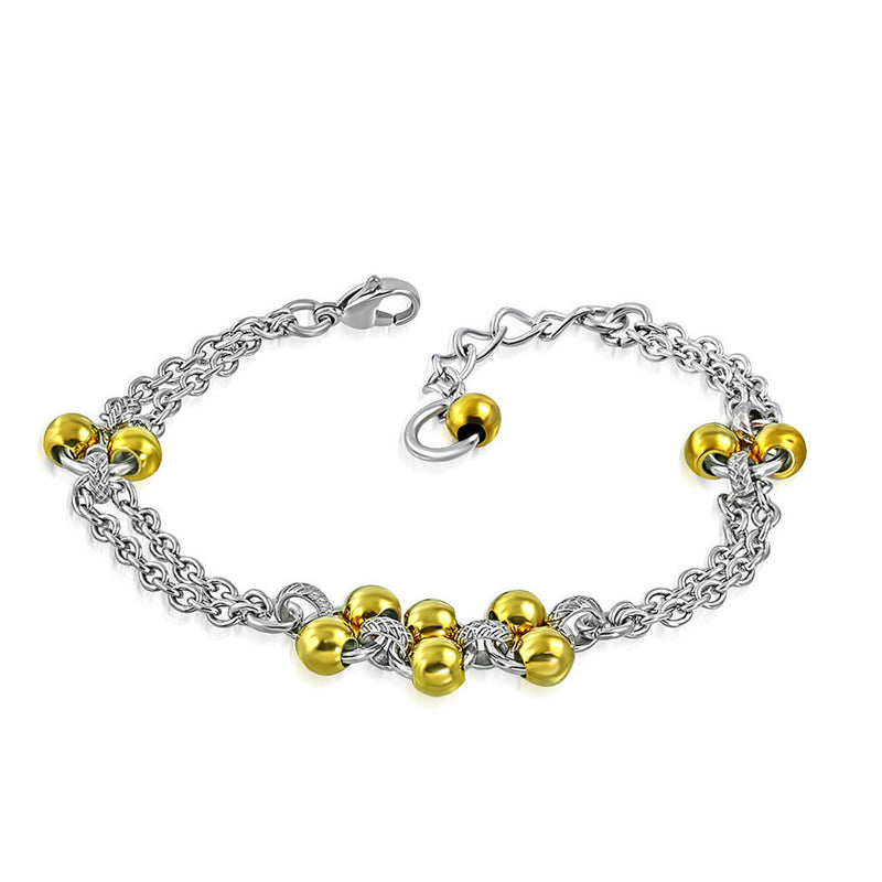 Stainless Steel Silver-Tone Yellow Gold-Tone Multi-Chain Charm Adjustable Bracelet