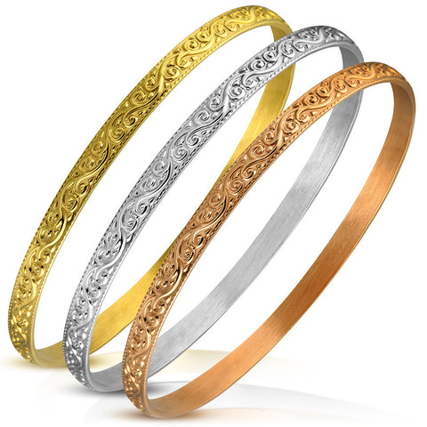 Stainless Steel Yellow Rose Gold-Tone Silver-Tone Three Stackable Bracelets Set, 8""