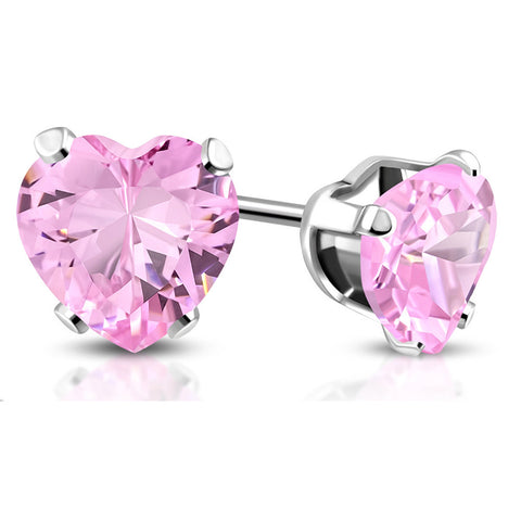 Stainless Steel Pink CZ Love Heart Stud Earrings