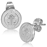 Stainless Steel Silver-Tone Religious Christian Round Stud Earrings