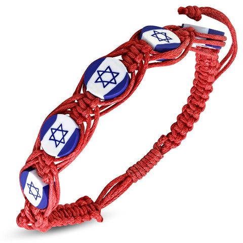 Red Cord Blue Jewish Star of David Israel Israeli Flag Braided Macrame Bracelet
