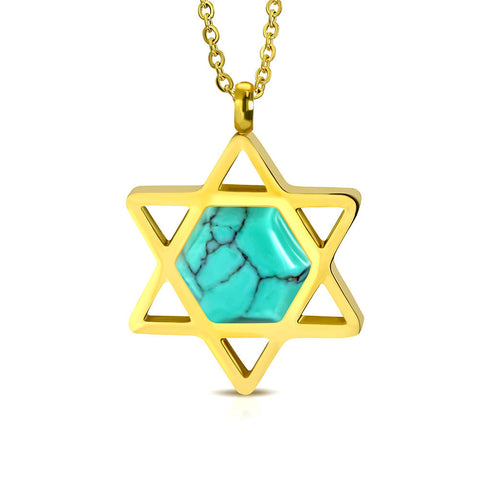 Stainless Steel Yellow Gold-Tone Simulated Turquoise Jewish Star of David Pendant Necklace, 20""