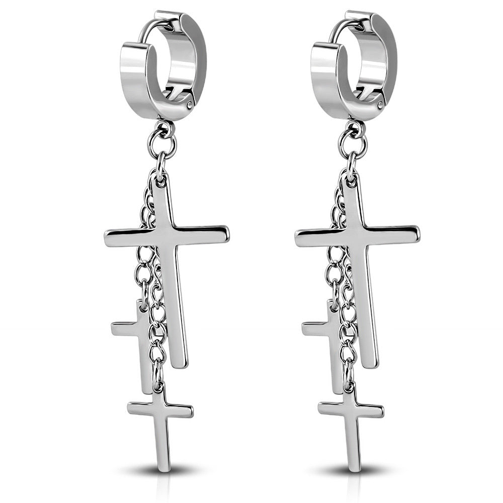 Stainless Steel Silver-Tone Religious Cross Dangle Drop Earrings, 2""