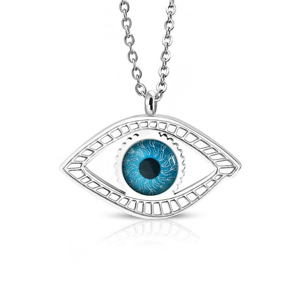 Stainless Steel Silver-Tone Blue Evil Eye Pendant Necklace, 20""