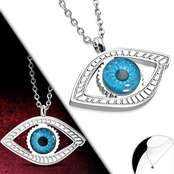 Modern Realistic Evil Eye Necklace Sterling Silver