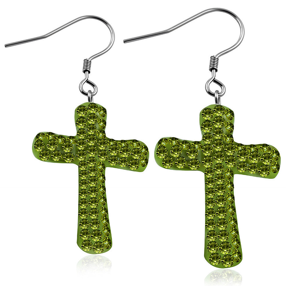 Fashion Alloy Green CZ Religious Latin Cross Drop Dangle Earrings