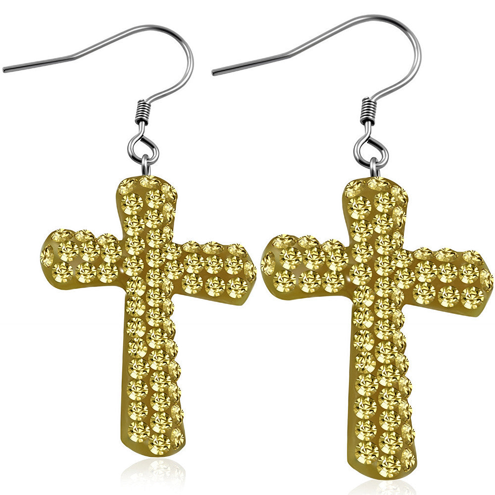 Fashion Alloy Brown CZ Religious Latin Cross Drop Dangle Earrings