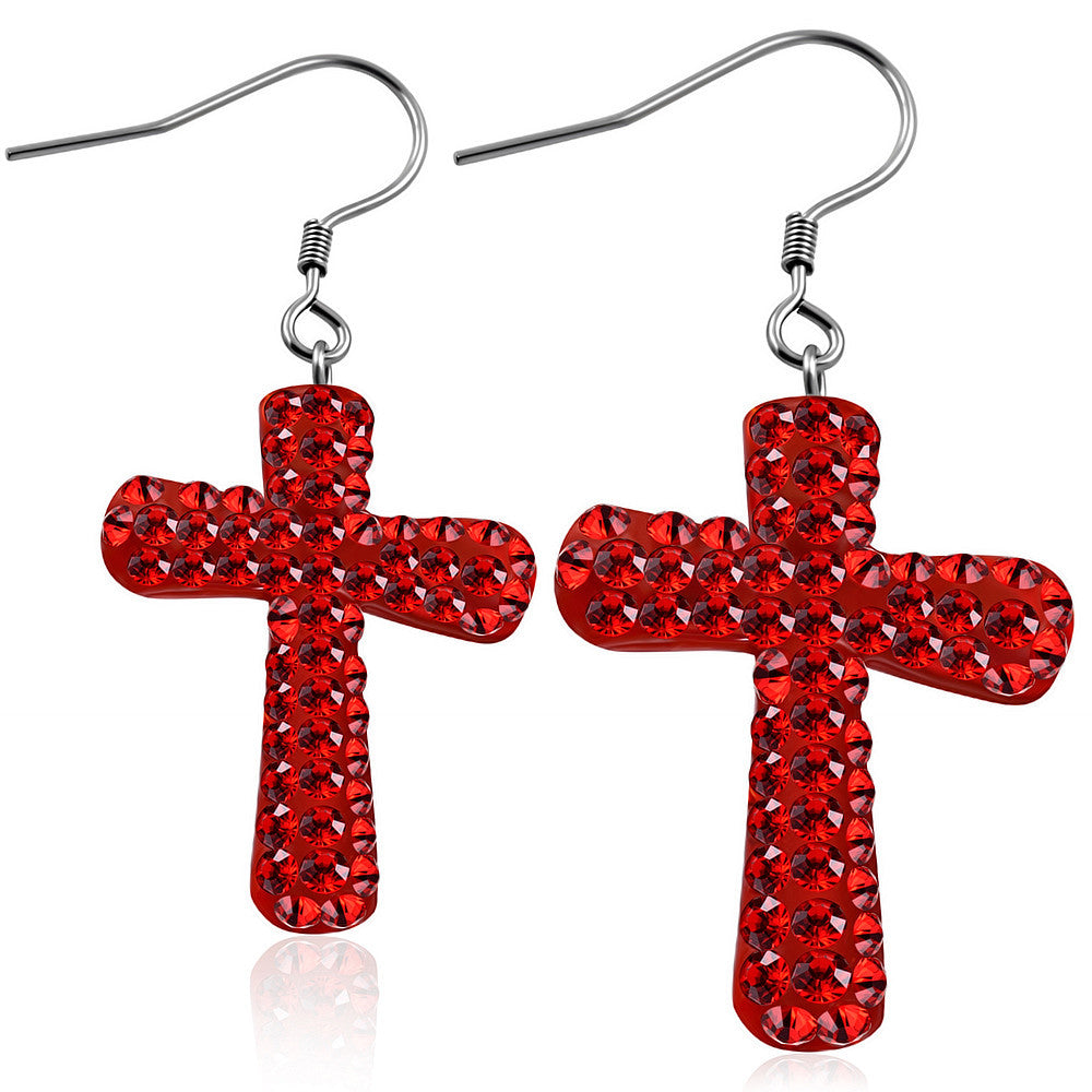 Fashion Alloy Red CZ Religious Latin Cross Drop Dangle Earrings