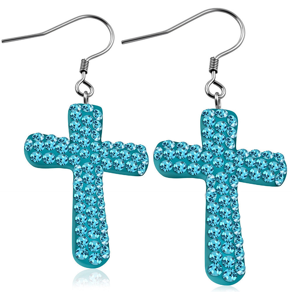 Fashion Alloy Blue CZ Religious Latin Cross Drop Dangle Earrings