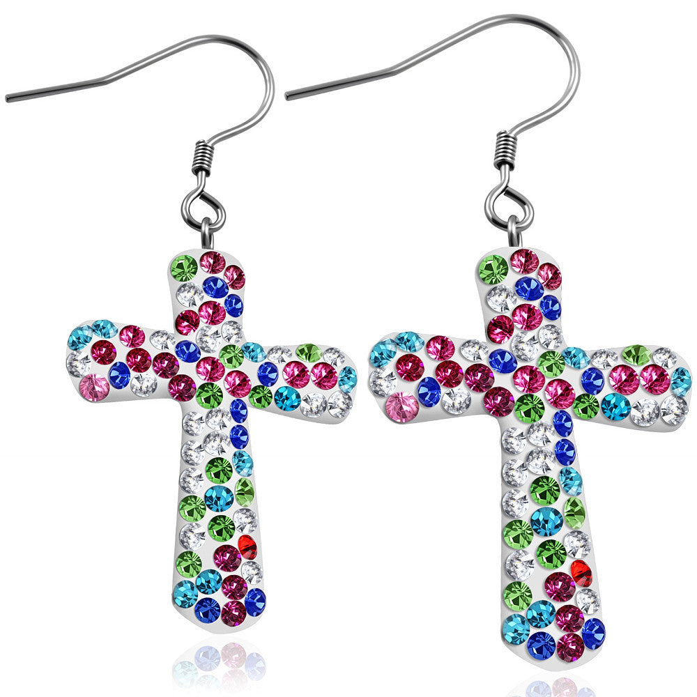 Fashion Alloy Multicolor CZ Religious Latin Cross Drop Dangle Earrings