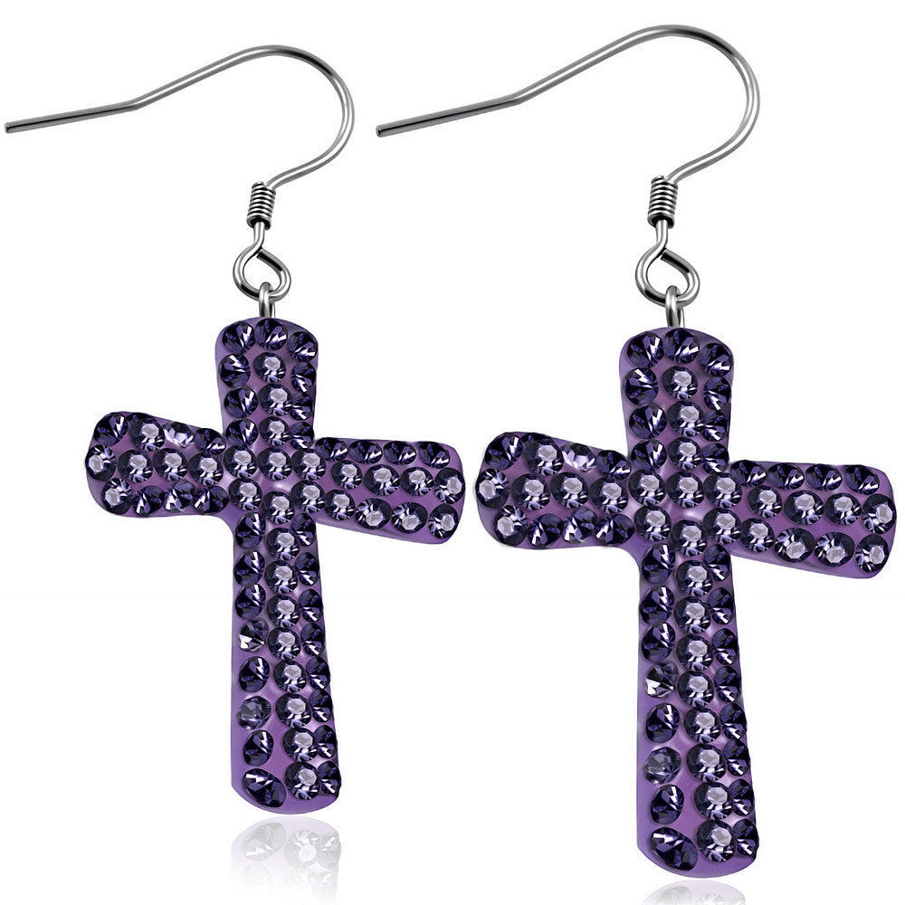 Fashion Alloy Purple CZ Religious Latin Cross Drop Dangle Earrings