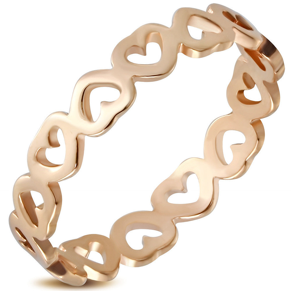 Stainless Steel Rose Gold-Tone Love Heart Promise Ring Band