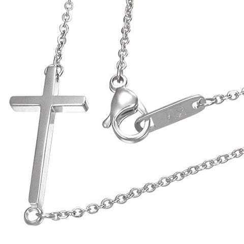 Stainless Steel Silver-Tone Sideways Horizontal Cross Pendant Necklace, 18""
