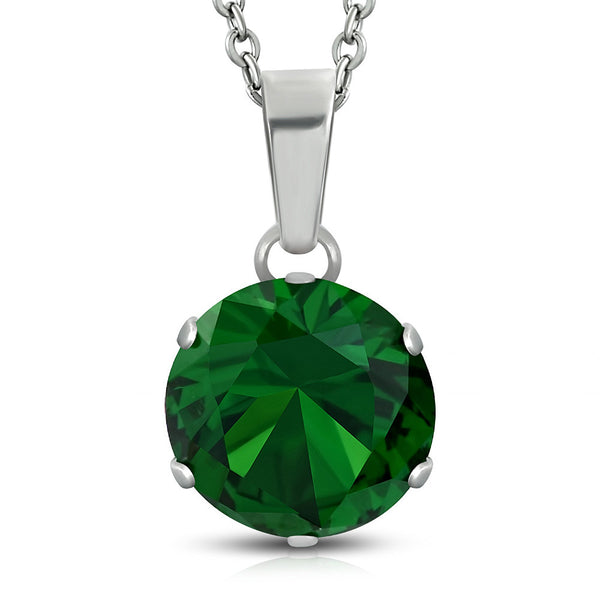 Stainless Steel Silver-Tone Green CZ Solitaire Statement Pendant Necklace, 18""