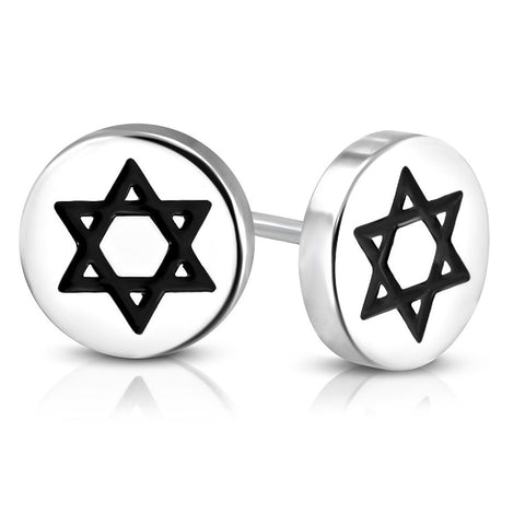 Stainless Steel Silver-Tone Black White Jewish Star of David Stud Earrings, 0.30""