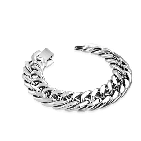Stainless Steel Silver-Tone Classic Link Chain Mens Bracelet, 9""
