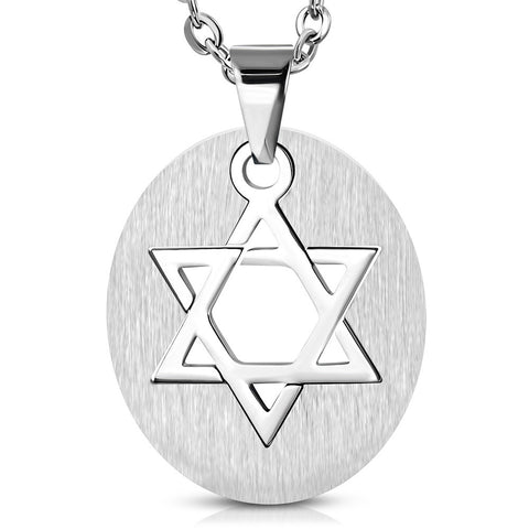 Stainless Steel Silver-Tone Oval Star of David Charm Mens Pendant Necklace, 22""