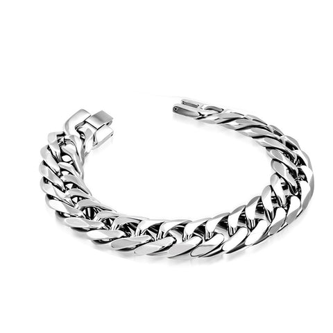 Stainless Steel Silver-Tone Classic Link Chain Mens Bracelet, 8.5""
