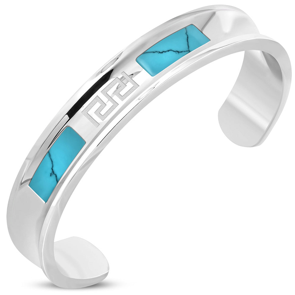 Stainless Steel Silver-Tone Simulated Turquoise Open-End Bangle Bracelet, 8.5""
