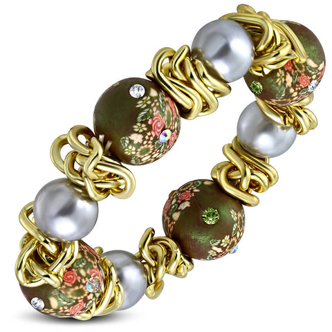 Fashion Alloy Yellow Gold-Tone Brown Multicolor CZ Floral Stretch Bracelet, 8""