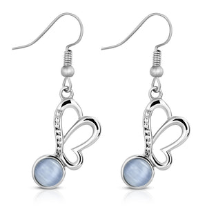 Stainless Steel Silver-Tone Blue  Simulated Gemstone Butterfly Drop Dangle Earrings, 1.65""