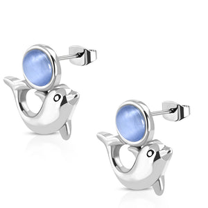 Stainless Steel Silver-Tone Blue  Simulated Gemstone Dolphin Stud Earrings, 0.70""