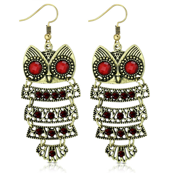 Fashion Alloy Yellow Gold-Tone Red CZ Drop Dangle Owl Statement Earrings, 2.70""