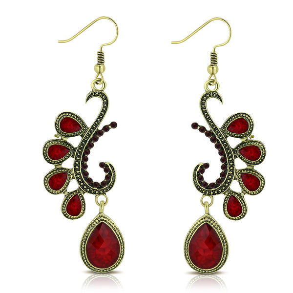 Fashion Alloy Yellow Gold-Tone Red CZ Drop Dangle Statement Earrings, 2.85""