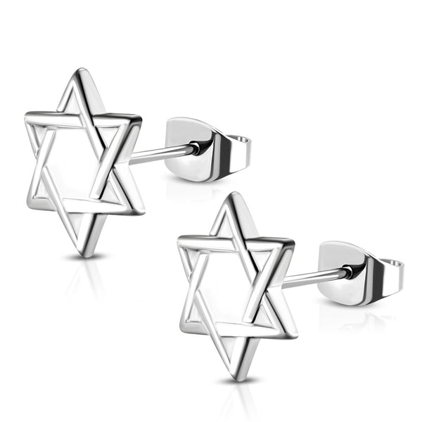 Stainless Steel Silver-Tone Jewish Star of David Stud Earrings, 0.5""
