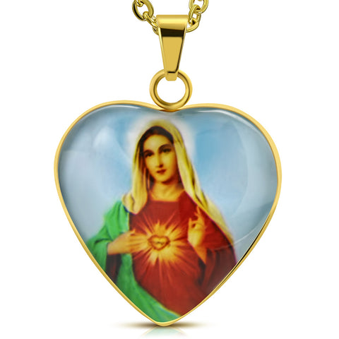 Stainless Steel Yellow Gold-Tone Love Heart Virgin Mary Amulet Pendant Necklace, 20""