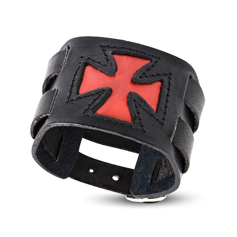 Fashion Alloy Black Red Leather Cross Mens Wristband Wrap Bracelet, 8""