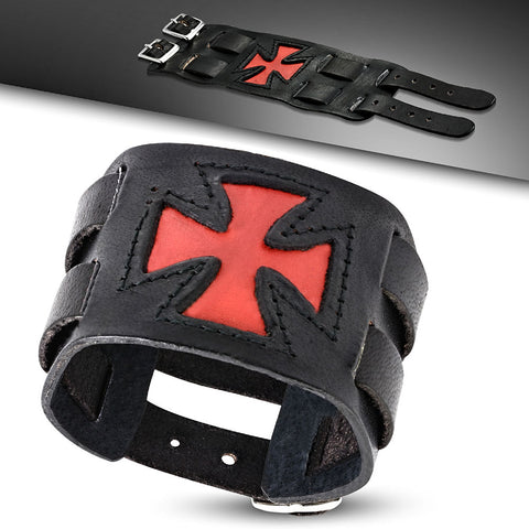 Red Cross Leather Bracelet