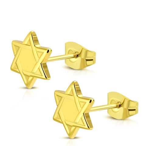 Stainless Steel Yellow Gold-Tone Jewish Star of David Stud Earrings, 0.5""