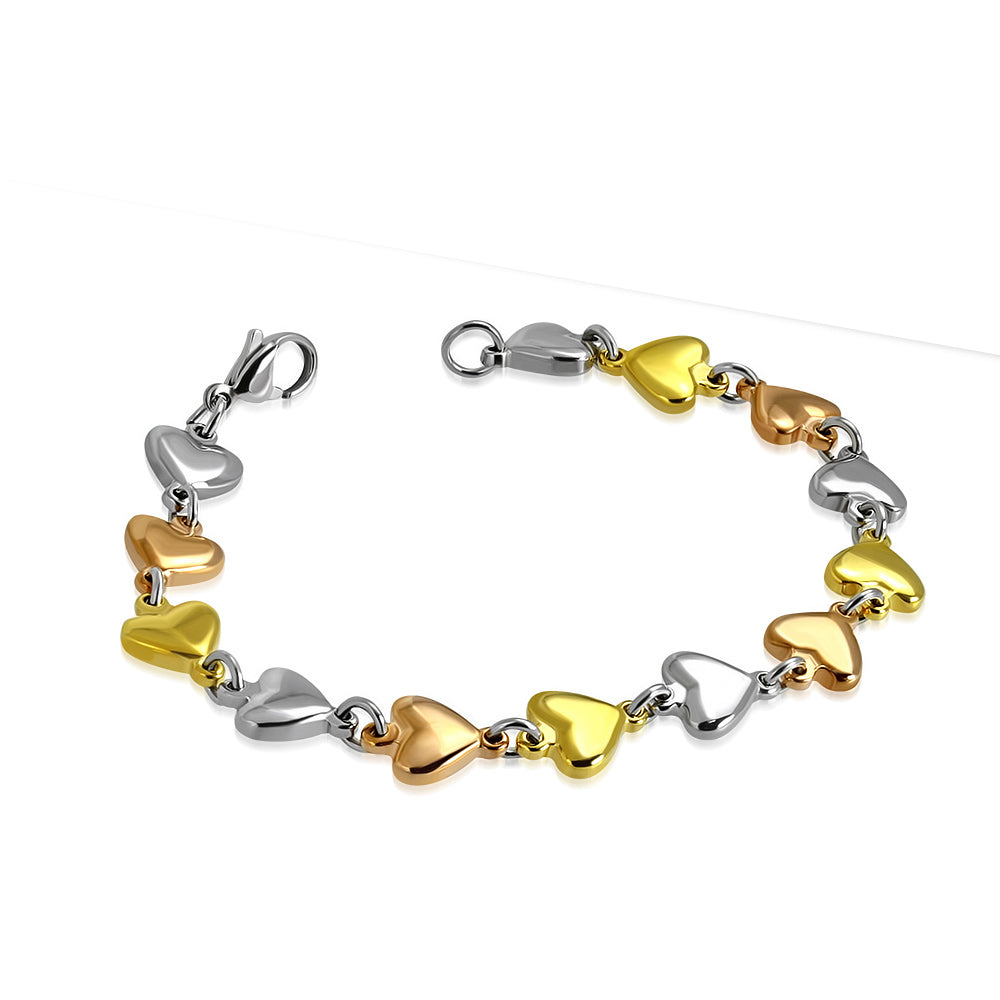 Stainless Steel Yellow Rose Gold-Tone Silver-Tone Love Heart Link Womens Bracelet, 7.5""