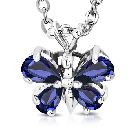 Stainless Steel Silver-Tone Blue Sapphire-Tone CZ Butterfly Pendant Necklace, 16""
