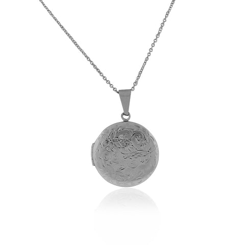 Stainless Steel Silver-Tone Round Classic Locket Pendant Necklace, 24""