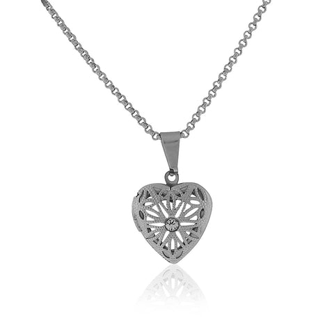 Stainless Steel Silver-Tone Love Heart White Clear CZ Locket Pendant Necklace, 18""