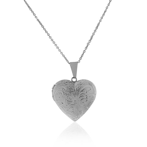 Stainless Steel Silver-Tone Love Heart Locket Pendant Necklace, 24""