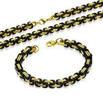 "Stainless Steel Black Yellow Gold-Tone Men's Necklace Bracelet Jewelry Set, 21"" and 8"""