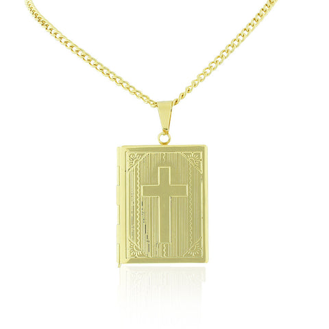 Stainless Steel Yellow Gold-Tone Religious Cross Bible Book Locket, 22""